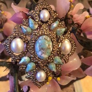 Vintage Sarah cov gem brooch pendent